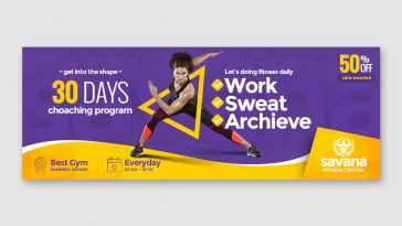 Fitness center Facebook cover template