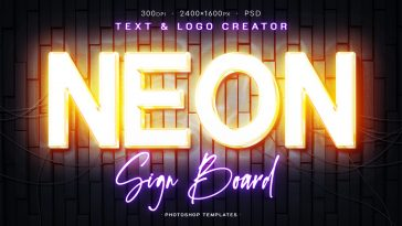 Neon Signboard Text Effect Photoshop Actions
