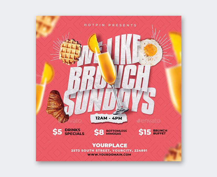 Sunday Brunch Flyer PSD Template