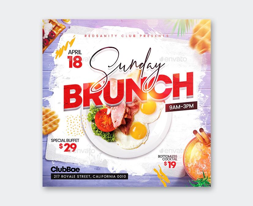 Sunday Brunch Flyer Template PSD