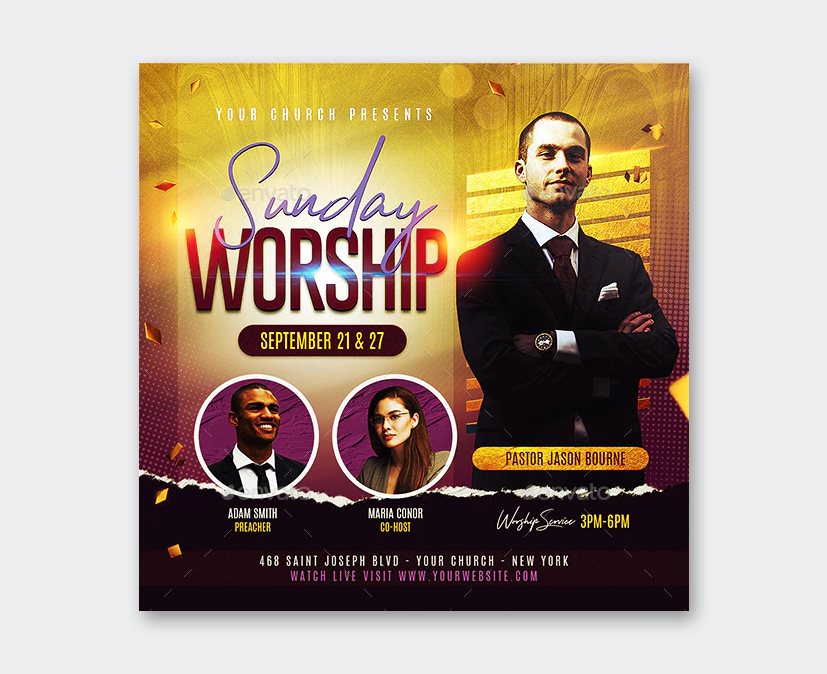 Worship Flyer PSD Design