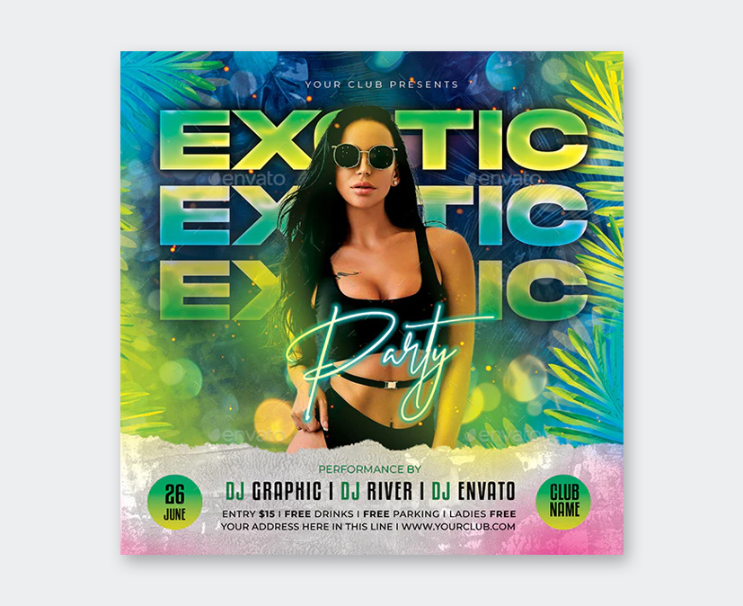 Exotic Party Flyer PSD Design