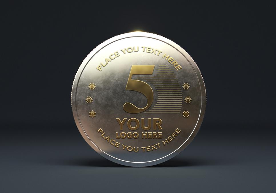 Gold Coin Mockup PSD