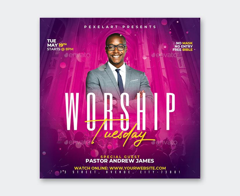 Church Worship Tuesday Flyer Template