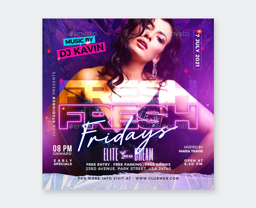 Fresh Friday Party Flyer Template