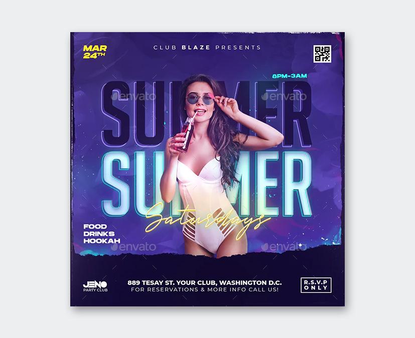 Modern Summer Party Flyer PSD Design