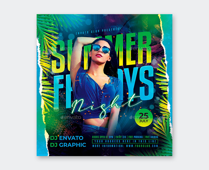 Night Summer Party Flyer Template