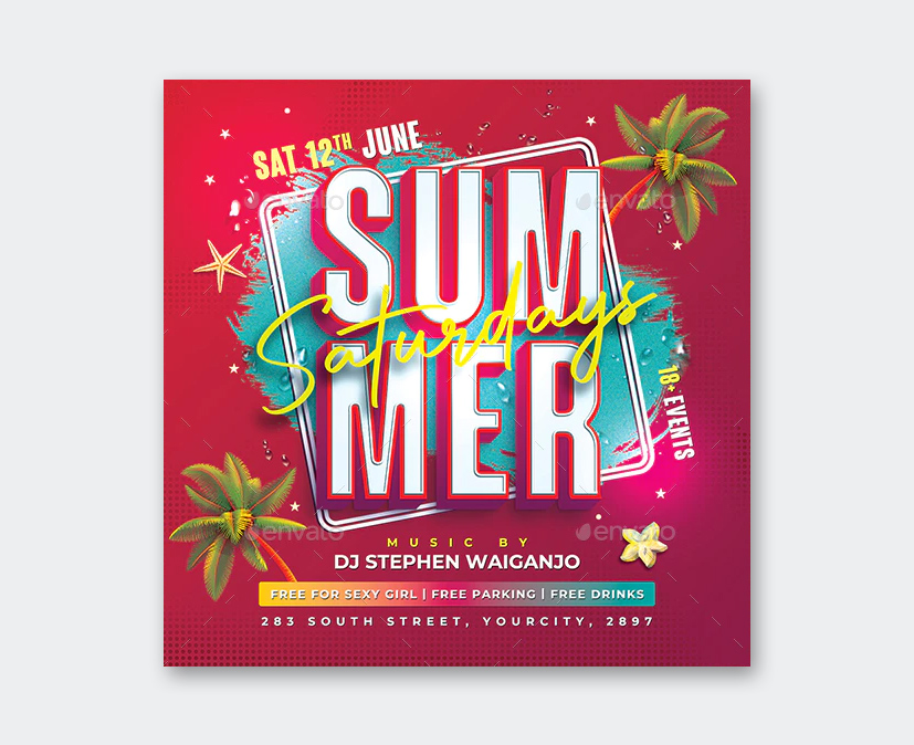 Saturdays Summer Party Flyer Template