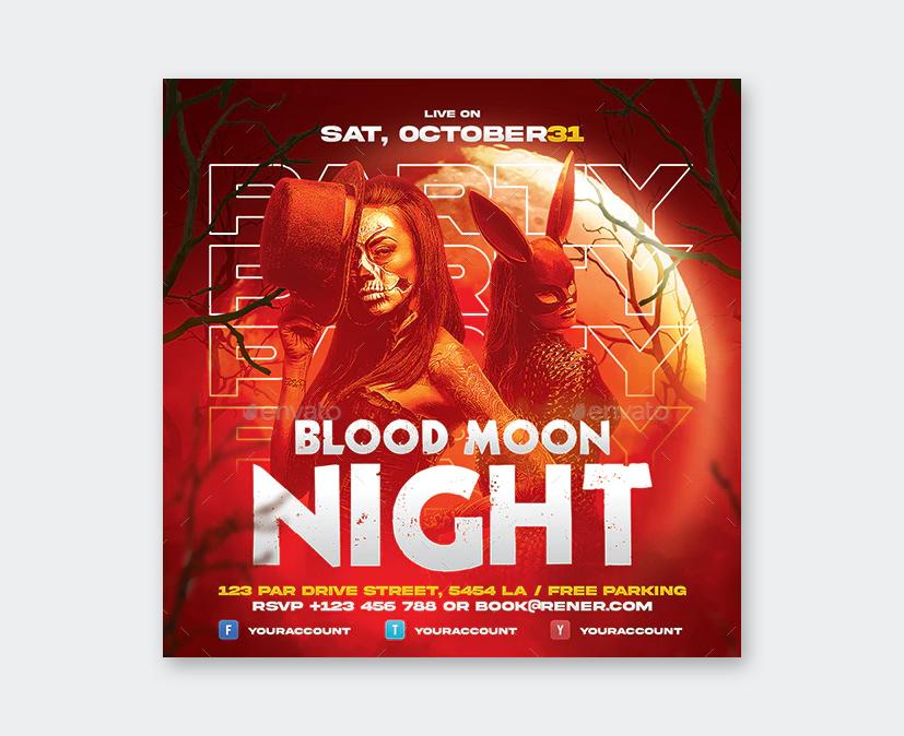 Blood Moon Halloween Flyer Design