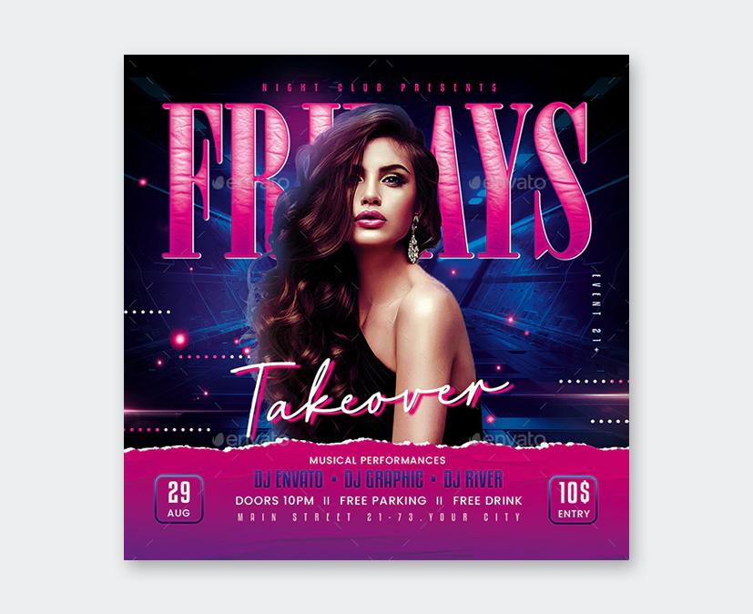 Creative Friday Party Flyer Design