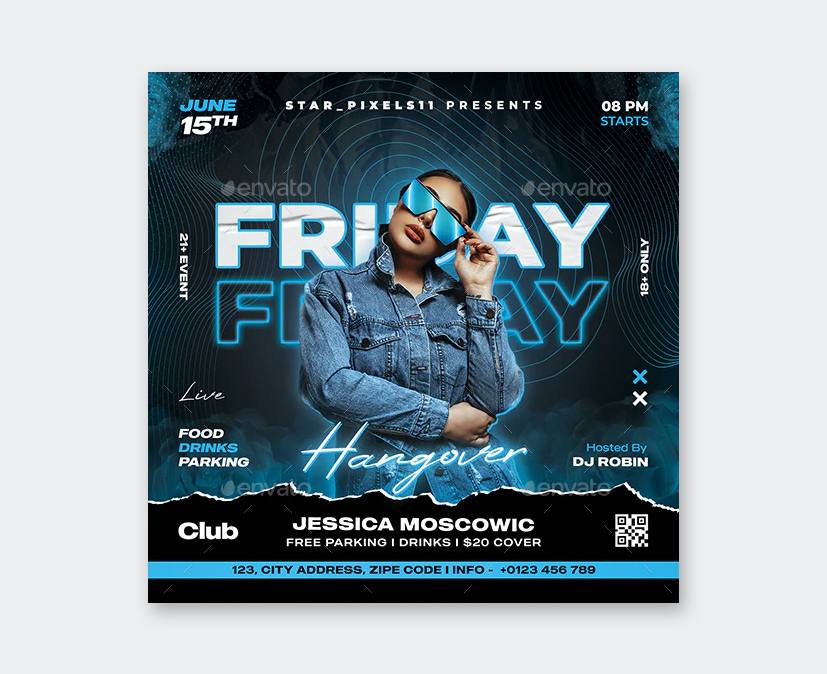 Friday Night Party Flyer Design