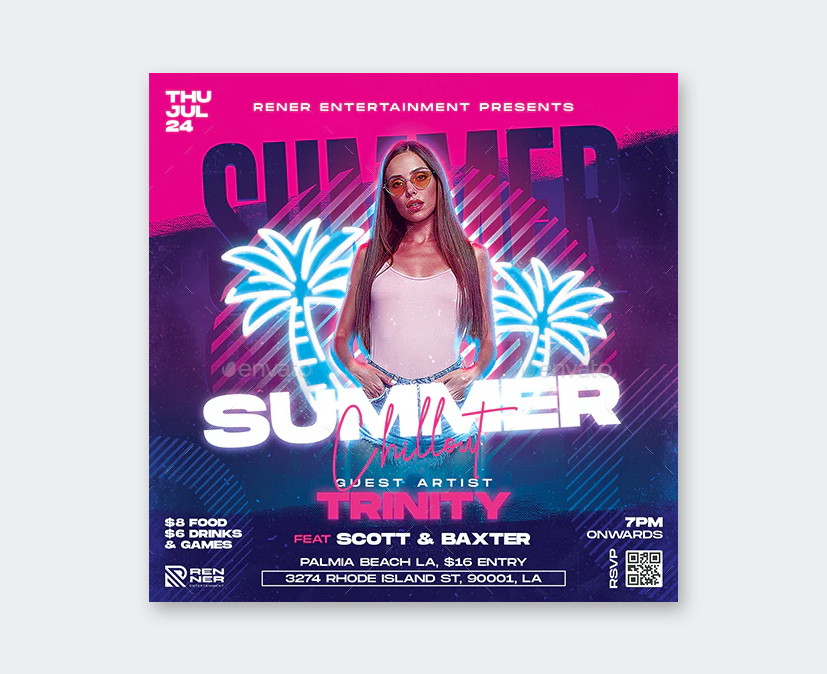 Neon Summer Party Flyer