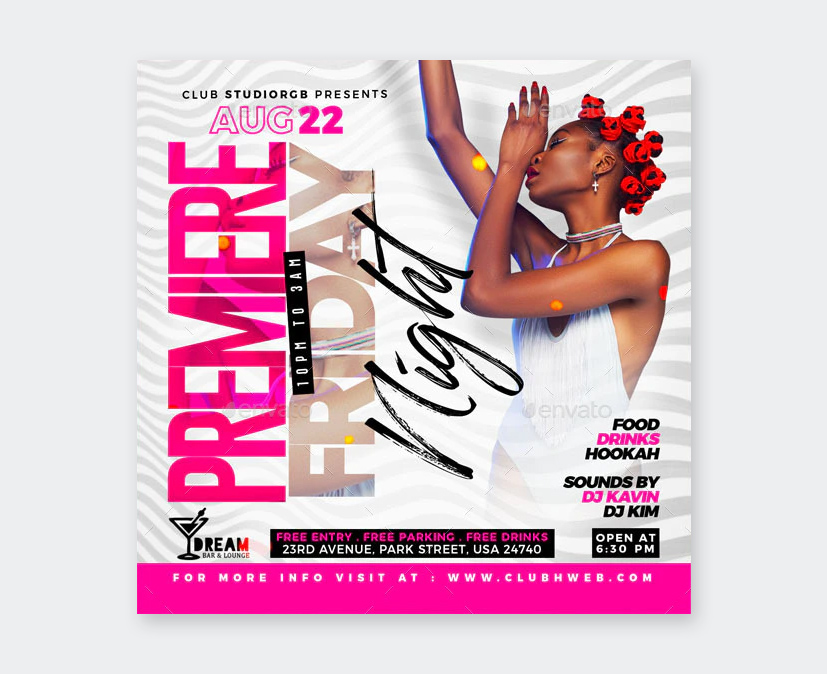 PSD Friday Night Party Flyer Template