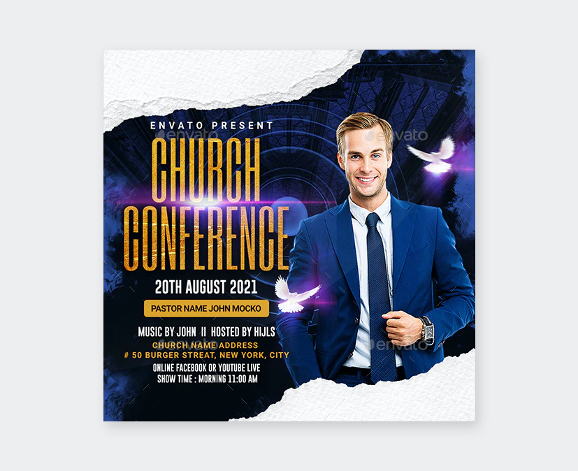 Square Church Flyer Template