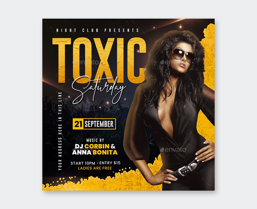 Square Night Club Party Flyer PSD