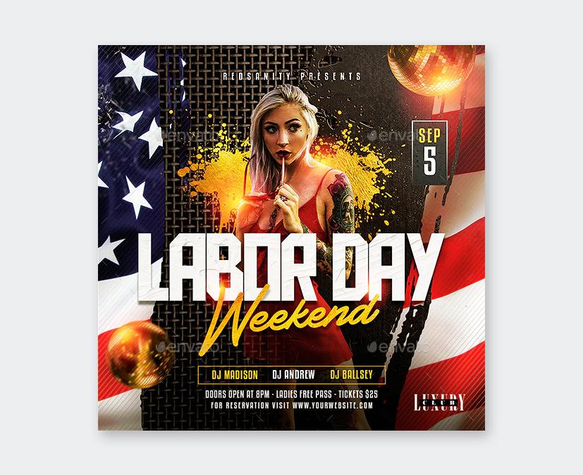 Creative Labor Day Weekend Flyer Design