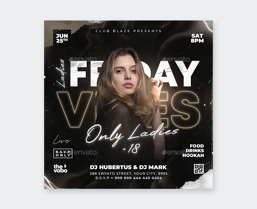 Friday Vibes Party Flyer Design