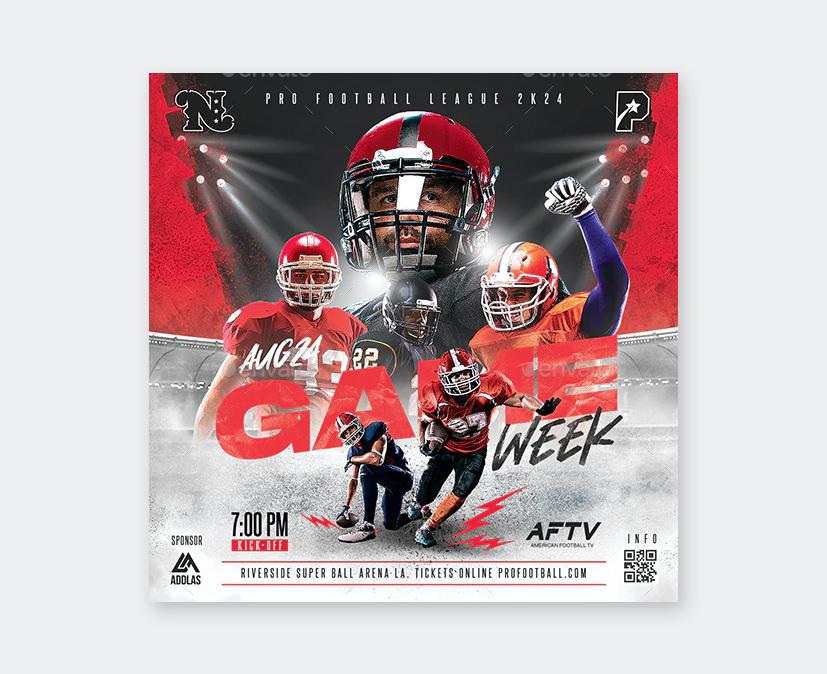 Game Week Football Flyer PSD