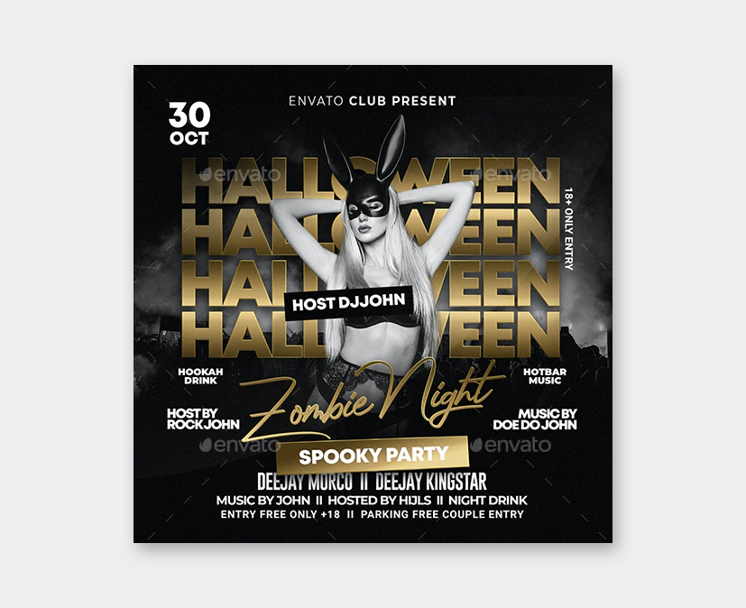 Night Club Halloween Party Flyer PSD