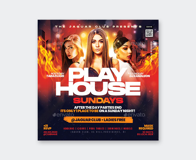 Play House Party Flyer Template