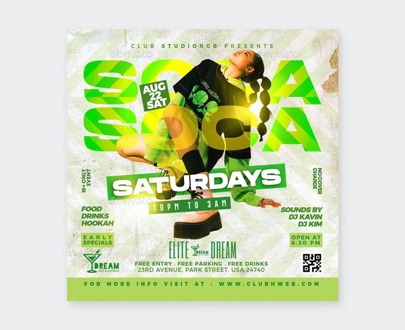 Saturdays Night Club Flyer