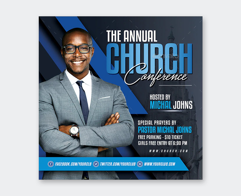 Design Church Conferences Flyer PSD
