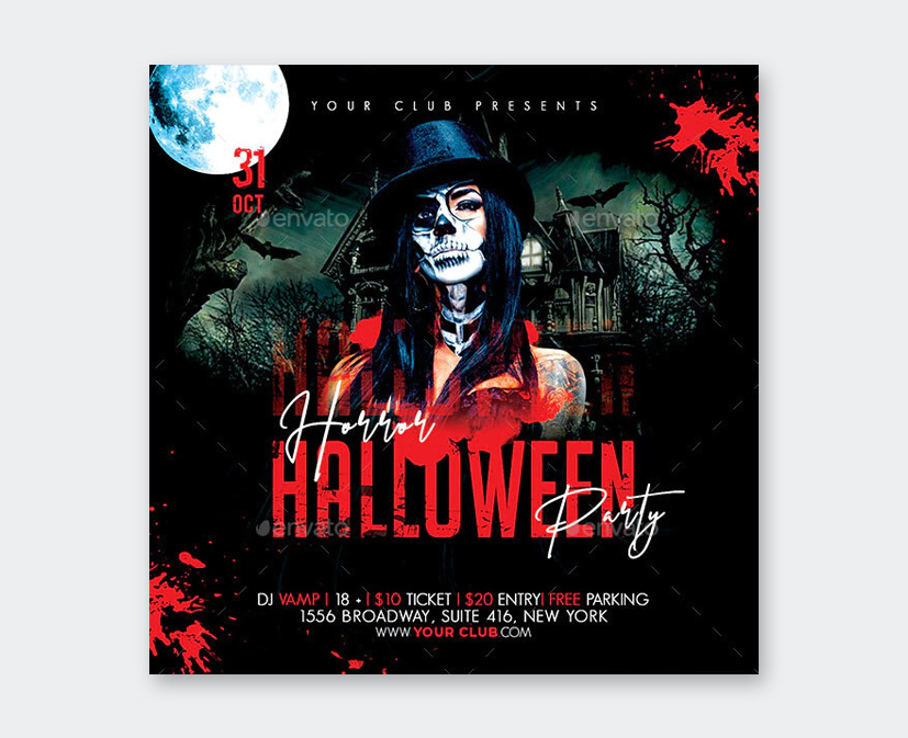 Horror Party Flyer PSD