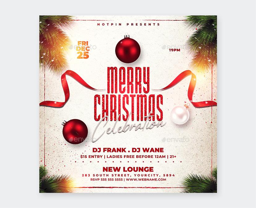 Merry Christmas Celebration Flyer Design