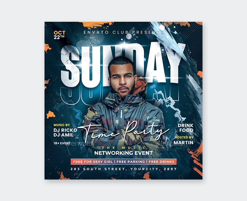 Sunday Time Party Flyer Template