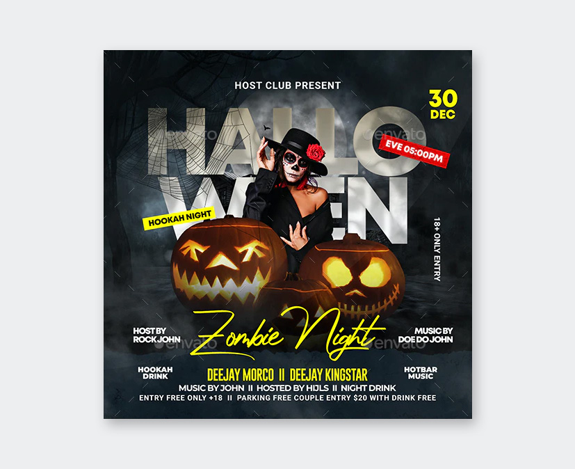 Zombie Night Party Flyer Design